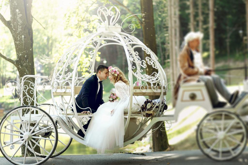 Les mariés arrivant dans leur beau carrosse !
